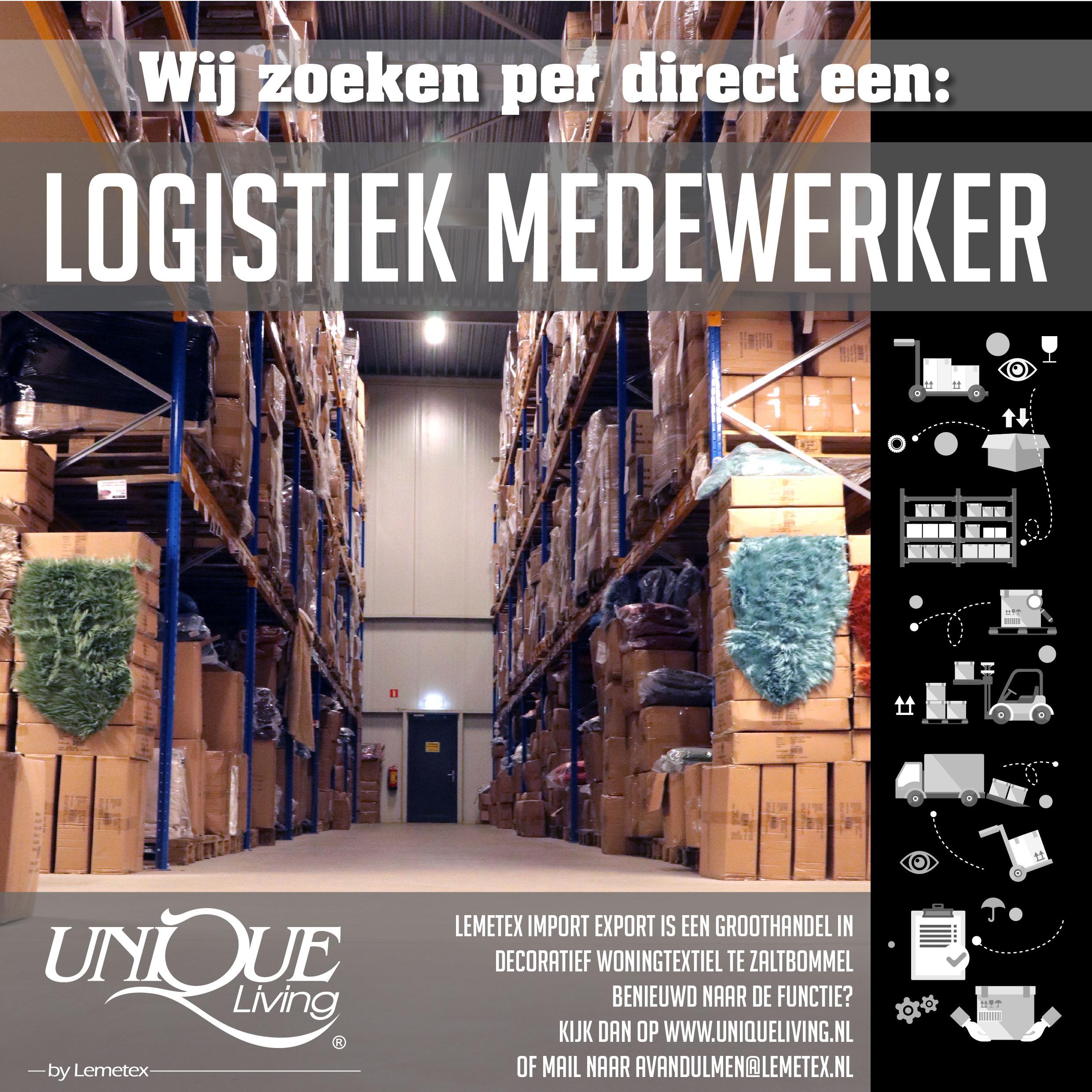 Unique Living vacature Logistiek Medewerker